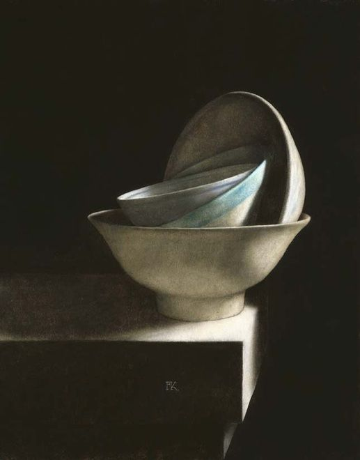 Frans Klerkx, Dutch painter (b.1952). 'Bowls on a Ledge':