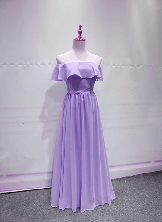 Lavender Chiffon Off Shoulder Bridesmaid Dress Charming Bridesmaid Dress Off Shoulder Bridesmaid Bridesmaid Dresses Off Shoulder Bridesmaid Dress