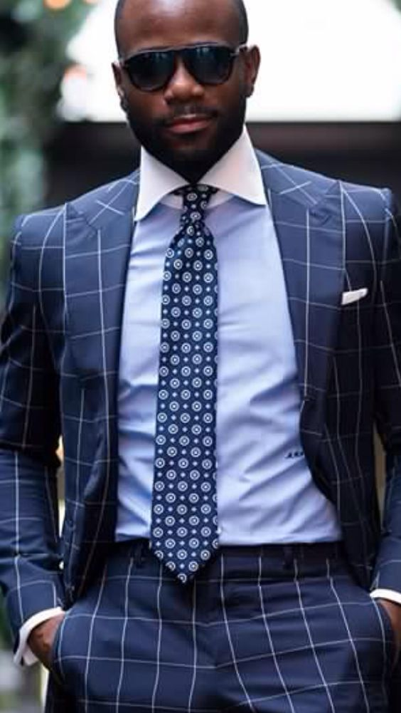 Windowpane suit with white collar blue shirt men 39 s for Blue and white striped shirt with white collar