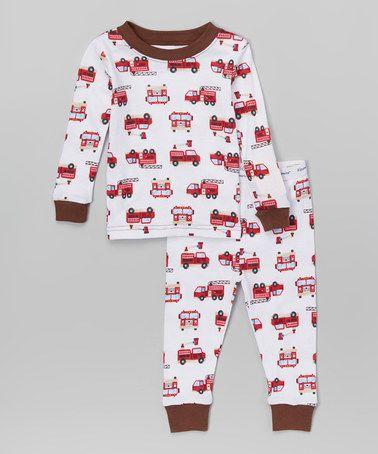 Look at this #zulilyfind! White Fire Trucks Pajama Set - Infant & Toddler #zulilyfinds