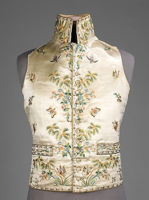 "Waistcoat  1780s  The Metropolitan Museum of Art  ""Waistcoats of the 18th and 19th centuries served as a layer protection and ornamentation during a period in fashion when the coat was intended to be left open in the front. The color was often chosen to complement the suit and covered in imaginative embroideries, heavily woven patterns or shiny satins made to draw the eye. The style of the neck, the length and the hem treatment fluctuated as the tastes changed from over-sized coats of the ea..."