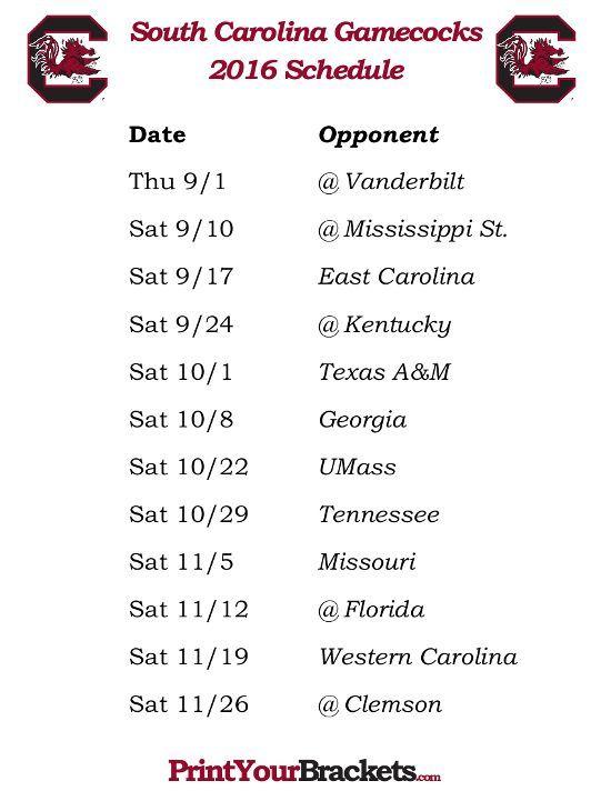 Printable South Carolina Gamecocks Football Schedule 2016: