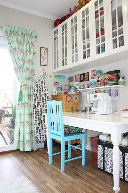 Must have hard wood floors, easier clean up!   love the storage unit above the table fresh looking colors!