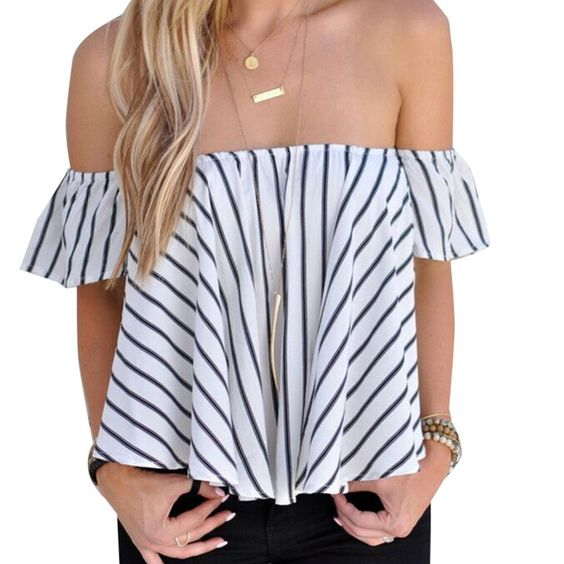 Fashion New Women Ladies Sexy Off Shoulder Striped T Shirts Tops Ruffle blusas Summer Casual Sleeveless Loose tee femme Z1