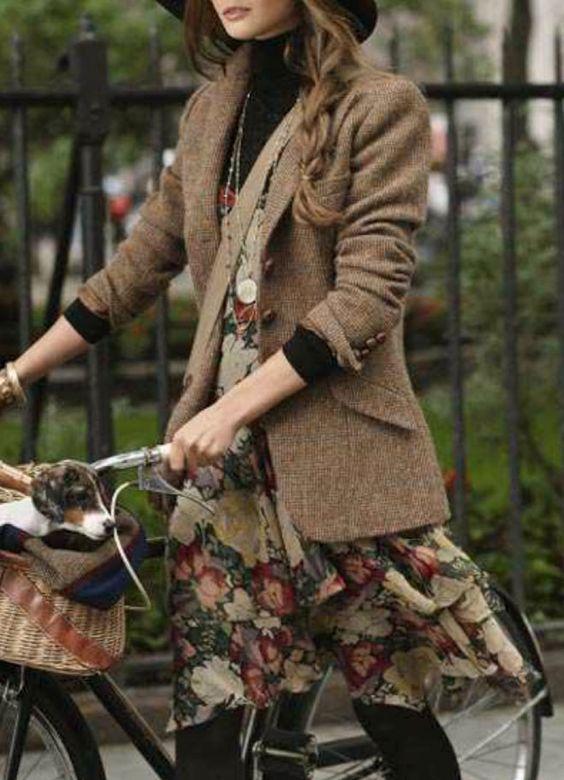 Floral dress + turtleneck sweater + tweed jacket + hat + tights + sensible shoes = lovely but comfy!                                                                                                                                                     More