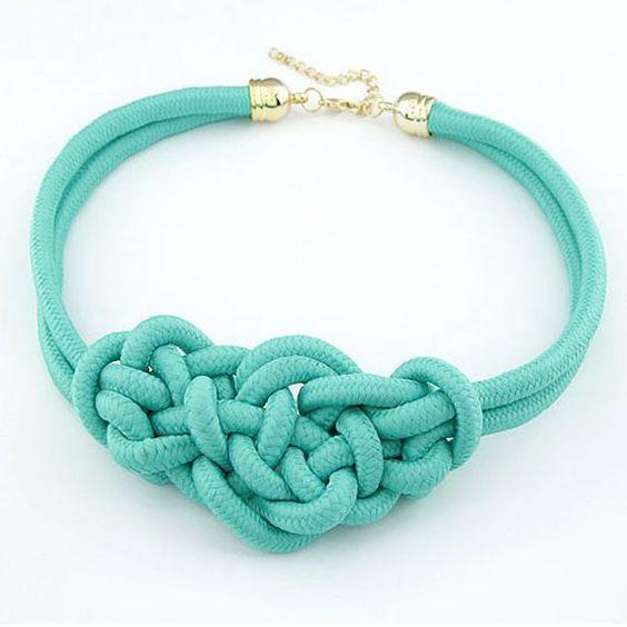 Специальное предложение синий ручной узел веревка ложные воротник колье себе ожерелья новый 2015 мода ювелирных изделий женщины подарок оптовая продажа N105