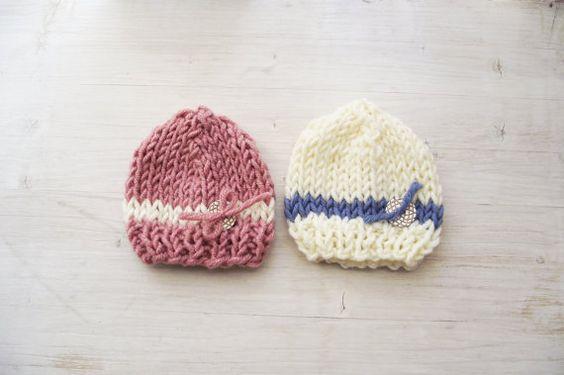 Newborn Baby Hat Knit Hat for Baby Girl Baby boy by ZucchiniIsland, $15.00