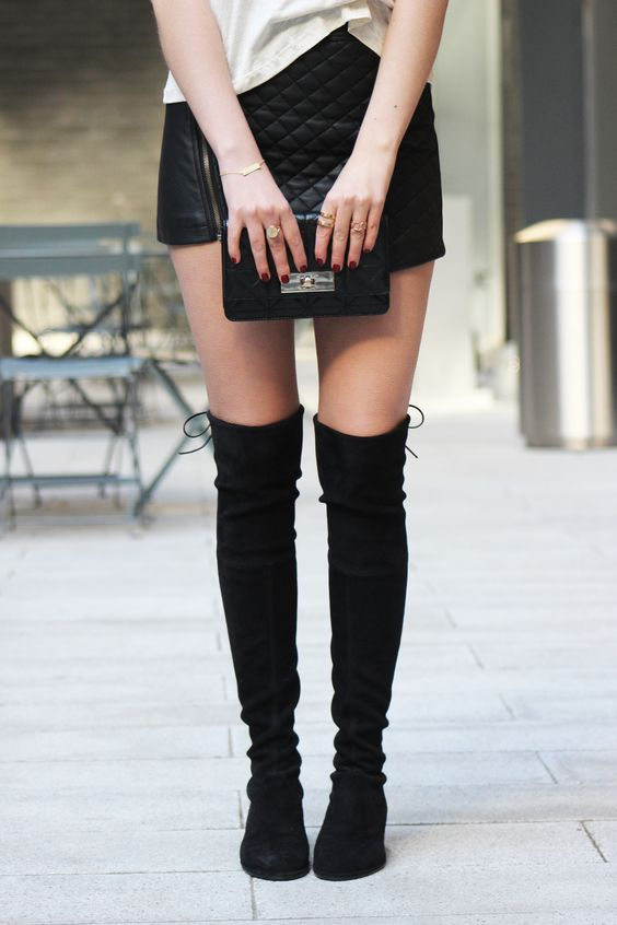cute edgy leather skirt stuart weitzman lowland boots. Black Bedroom Furniture Sets. Home Design Ideas