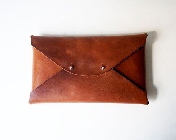 Medium Waxed Leather Clutch.