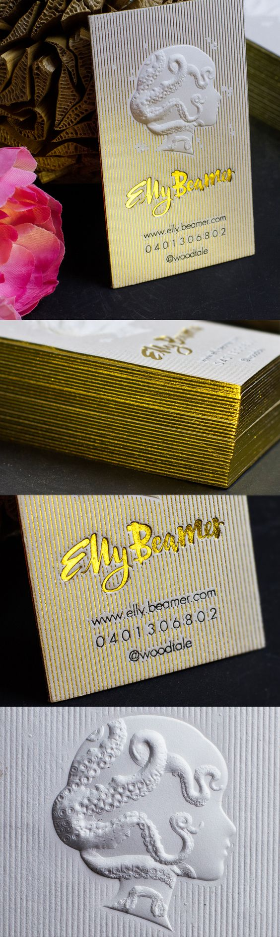 Stunning 3D Embossed Business Card with Gold Foil and Letterpress details. Design by the talented Elly Beamer of @woodtale. #jukeboxprint