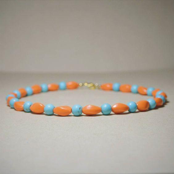 Orange & Turquoise Minimal Choker Necklace  #JewelryDesign #handmade #Jewelry #minimaljewelry #beads #beadwork #etsyfavorites #etsy #etsyshop #maldives #artisanjewelry #beadjewelry #boho #SomethingBoho #beadsbeadsbeads #beading #handmadejewelry #necklace by somethingboho