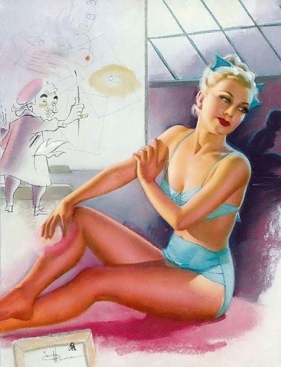 K.O. Munson vintage pin-up bathing beauty in studio