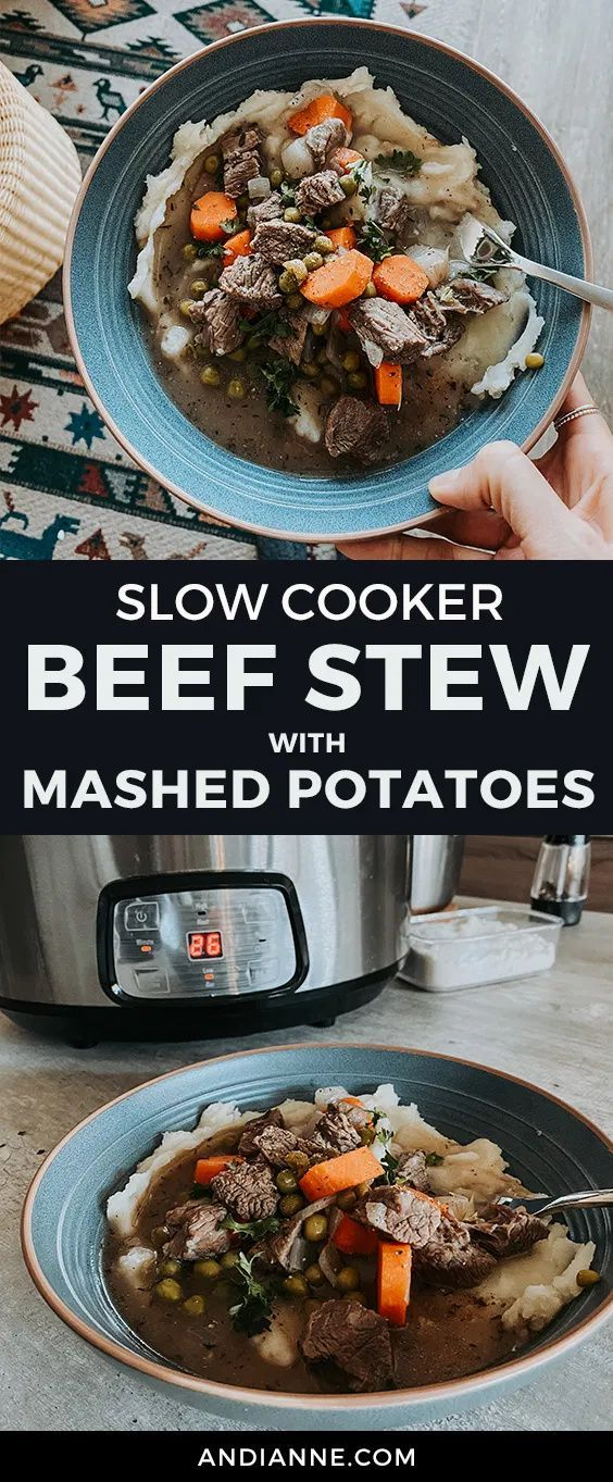Slow Cooker Beef Stew With Mashed Potatoes Recipe In 2021 Slow Cooker Beef Stew Slow Cooker Beef Slow Cooker Beef Stew Easy