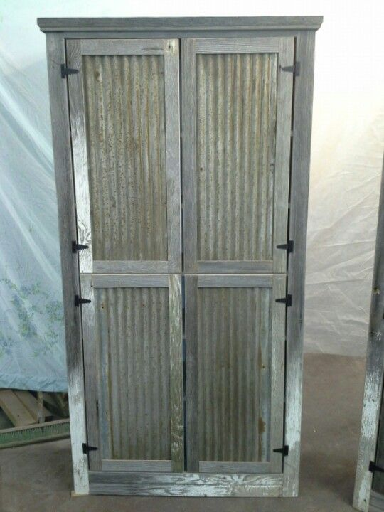 Barnwood Cabinet Tin Barn Roofing For Door Panels White Barnwood 2014 Pinterest Pantry