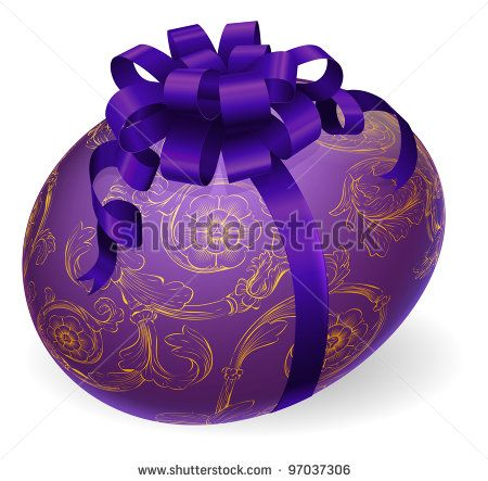 Illustration of a luxury patterned Easter egg wrapped with satin bow - stock photo