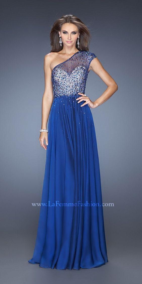 Dazzling Illusion Shoulder Dress La Femme 20141