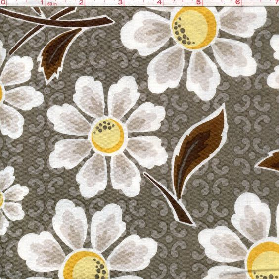 Yellow And Grey Fabric Large Flowers Gray From Riley