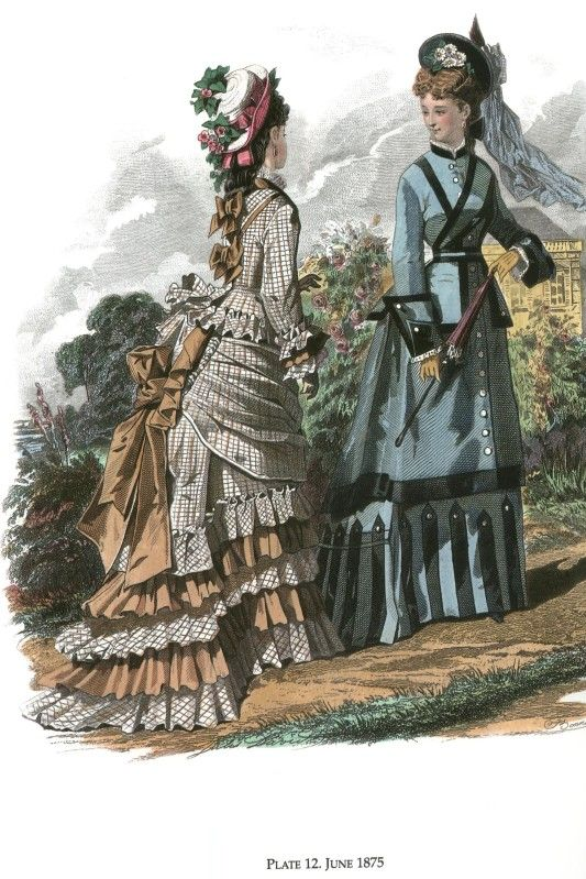 1875 June fashion plate - nice Autumn plaid w/ bias cut plaid for ruffles, hats tilted back:
