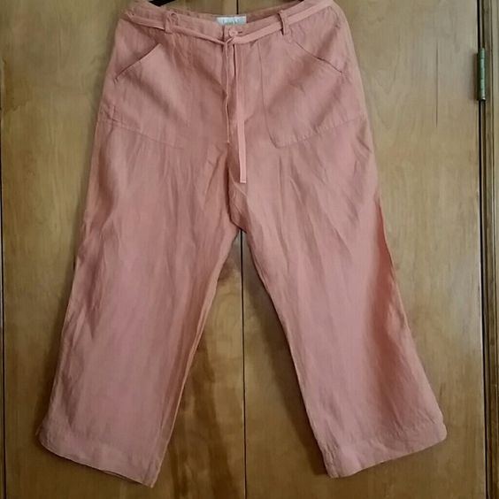 Linen Capris Lightweight Linen Capri's with tie belt.  Great the spring/summer. Linden Hill Pants Capris