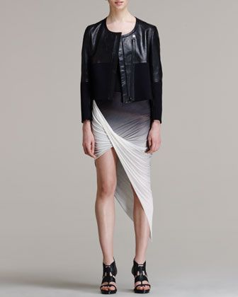 Motion Paneled Jacket & Shadow Ombre Asymmetric Skirt by Helmut Lang at Neiman Marcus.