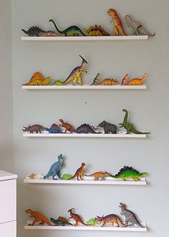 Great way to display and organize your collection of kids toys - the ideas of collections you could use are endless.  Cars, stuffed animals, artwork etc!
