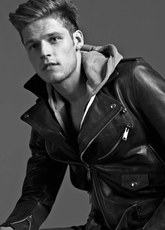 Beautiful Youth in leather jacket