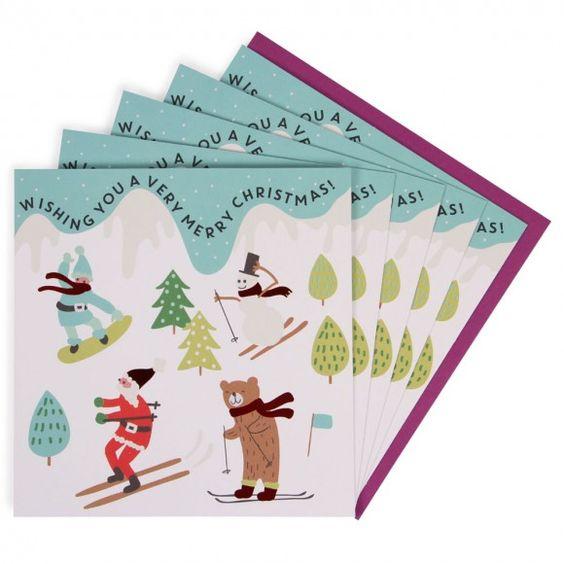 Ski scene charity Christmas cards - pack of 8
