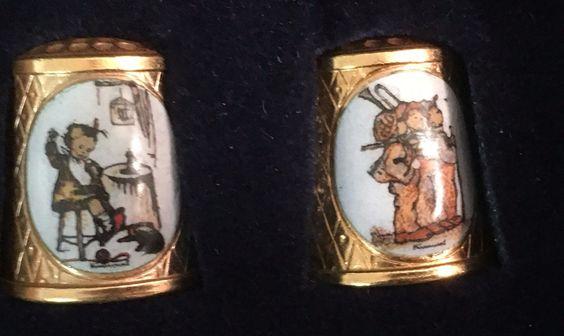 MJ Hummel Gold Plated Thimbles TCC School Children Collection