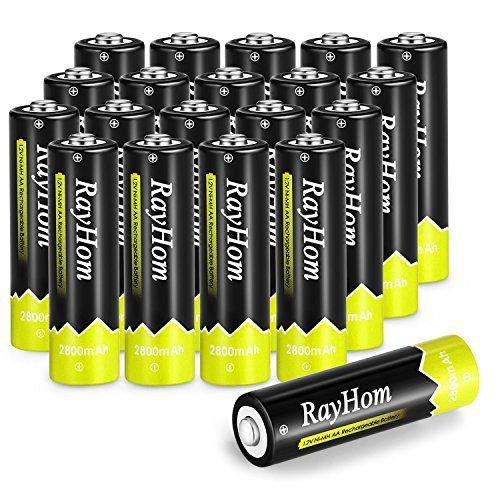 Rayhom Aa Rechargeable Batteries 2800mah Ni Mh Battery 20 Pack Amazon Rechargeable Batteries Batteries Video Camera Photo