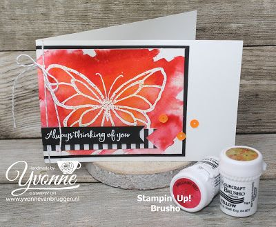 Yvonne is Stampin': Stampin'Up! Beautiful Day & Brusho #stampinup #yvonnevanbruggen