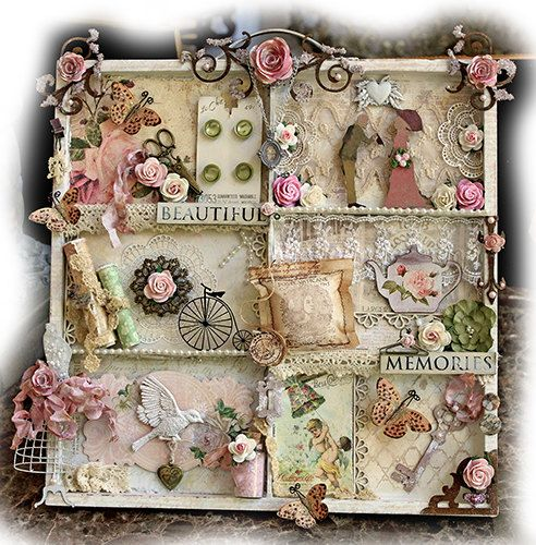 Beautiful Memories Altered Printer Tray Vintage Prima, Scrapmatts Chipboard, Tim Holtz, Butterfly, Flower