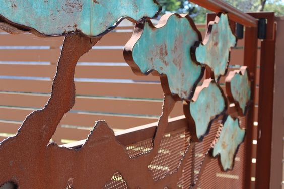 Rust and Patina Metal Tree Gate in Austin, TX Design and Finish by Amber Cunningham