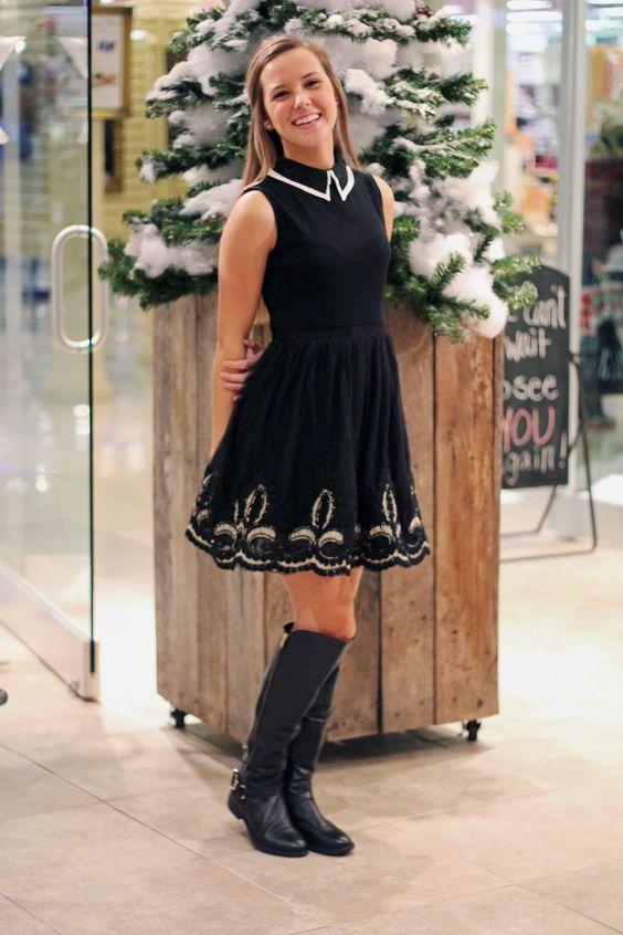 black and white peter pan collared dress