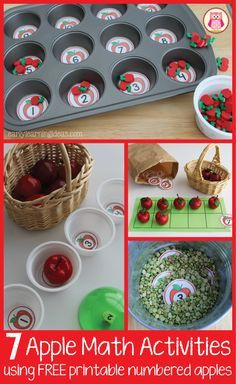 7 apple themed math ideas for kids. This article includes free numbered apple circles and many ideas to us them. Great for preschool, pre-k,…