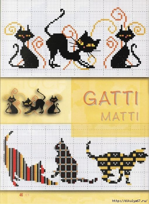 cross stitch black cats playing: