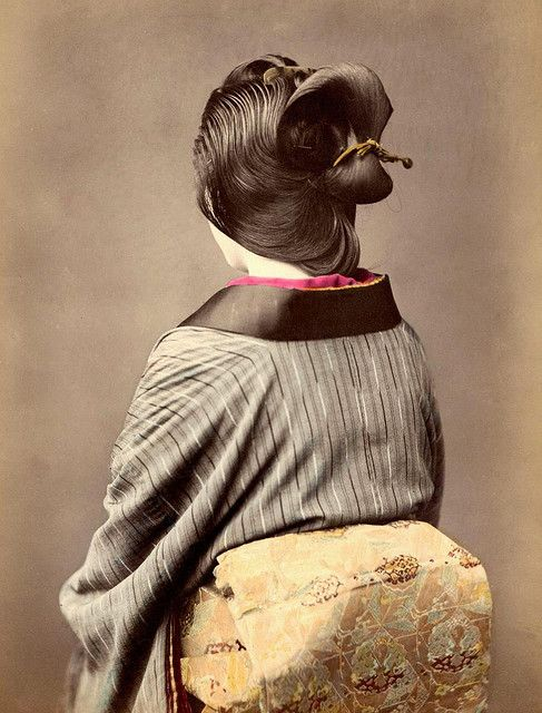 https://flic.kr/p/5eRMZk | HER BEAUTIFUL HAIR -- A Well Oiled, Combed, and Tied Coiffure in Old Japan | Although wigs were popular in Japan, this hair is real. The comb lines on the oiled and fragrant hair are clear. The natural strands, already falling out here and there, are seen at the back.  Also notice the turtle-shell comb fixed in her hair at the top. A simple but beautiful portrait of a daily style in Japan during the 1870s.   Here is an even closer shot of an even more complicated h...: