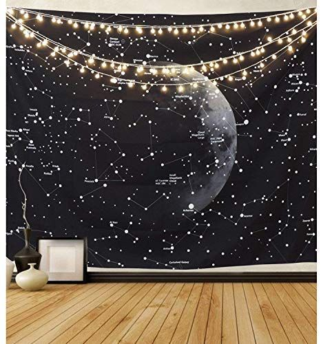 Pandayaq Moon Constellations Tapestry Wall Hanging Space Astrology Tapestry Black And White T Constellation Tapestry Dorm Wall Decor Tapestry Wall Hanging