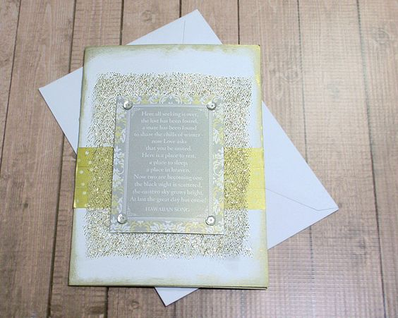 "Shining Gold and Silver Hawaiian Song Wedding Card - 5"" by 7"" by PaperDahlsLLC on Etsy"