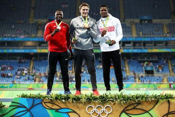 Silver medalist Julius Yego of Kenya, gold medalist Thomas Rohler of Germany and bronze medalist Keshorn Walcott of Trinidad and Tobago stand on the podium during the medal ceremony for the Men's Javelin Throw on Day 15 of the Rio 2016 Olympic Games at the Olympic Stadium on August 20, 2016 in Rio de Janeiro, Brazil.