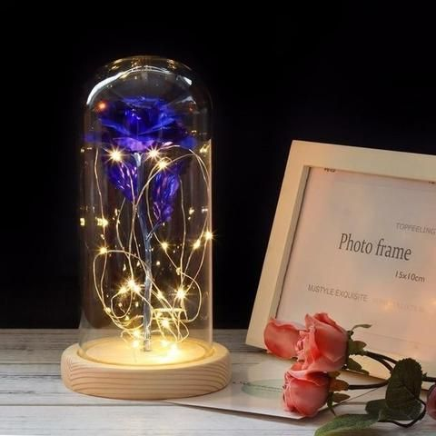 Blue Enchanted Led Rose Inspired By Beauty And The Beast Rose In A Glass Flower Lamp Rose Lights