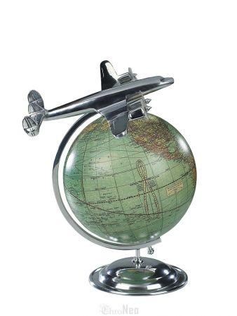 ChroNeo ::  Tischglobus mit einem Flugzeugmodell vom Typ Lockheed Constellation aus Aluminium von Authentic Models  Historisch, informativ und dekorativ zug