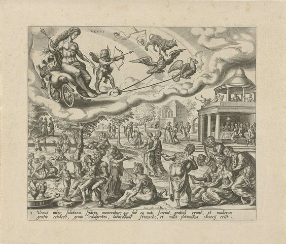 Harmen Jansz Muller   De planeet Venus en haar kinderen, Harmen Jansz Muller, Joannes Galle, 1566 - 1570   Venus en Amor rijden in een wagen aan de hemel, getrokken door twee vogels. De tekens van Weegschaal en Stier geven aan welke mensen tot de invloedssfeer van Venus behoren. De mensen, die onder dit sterrenbeeld geboren zijn, geven zich over aan een plezierig leven en erotiek. In een landschap wordt gevreeën, gebaad, gemusiceerd, in paren gewandeld of rond een gedekte tafel gegeten…