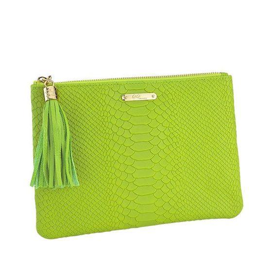 GiGi - Lime All in One Bag - Embossed Python $105