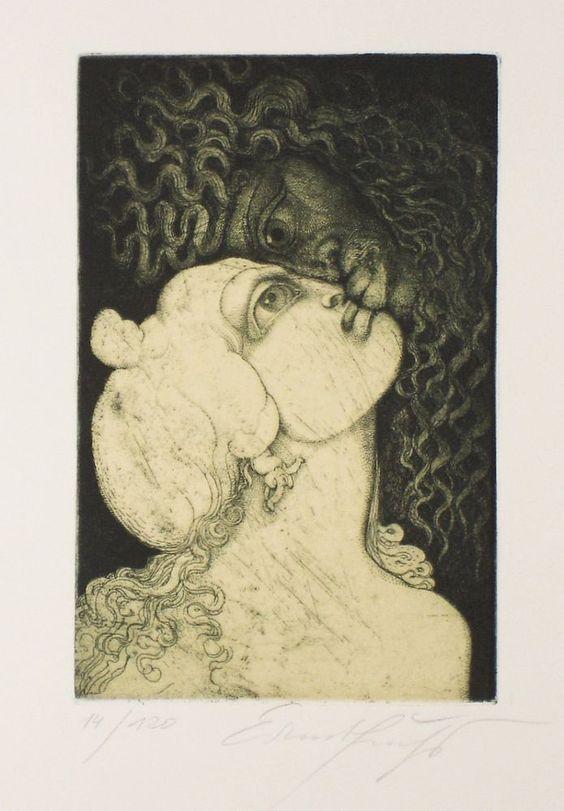 """Ernst Fuchs """"Kuss des Pan"""" Originalradierung in Antiquitäten & Kunst, Grafik, Drucke, Originaldrucke 1950-1999   eBay"""