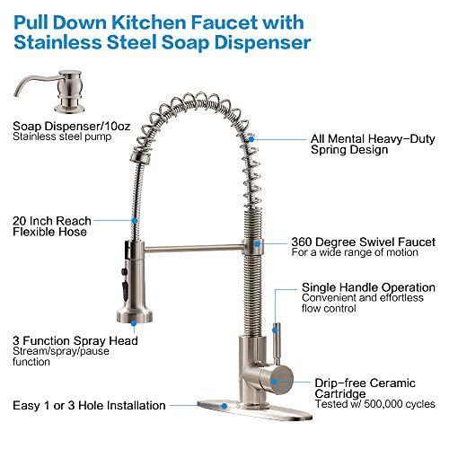 Bokaiya Kitchen Faucet And Soap Dispenser Combo Single Handle