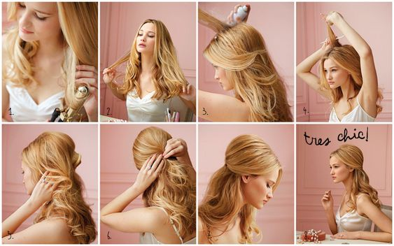 "How-to guide to curl & pin ""tres chic"" hair"