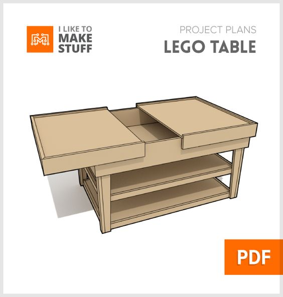 get plans for this sliding top lego build table with built in storage wood working. Black Bedroom Furniture Sets. Home Design Ideas