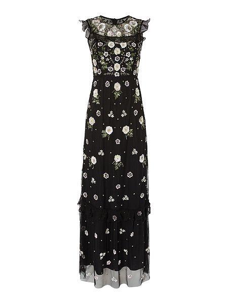 Needle & Thread Floral frill maxi dress ($325)