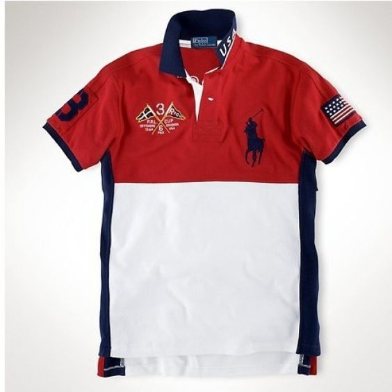 Ralph Lauren Big Pony FRANCE Signature Blue Orange Sporty Polo