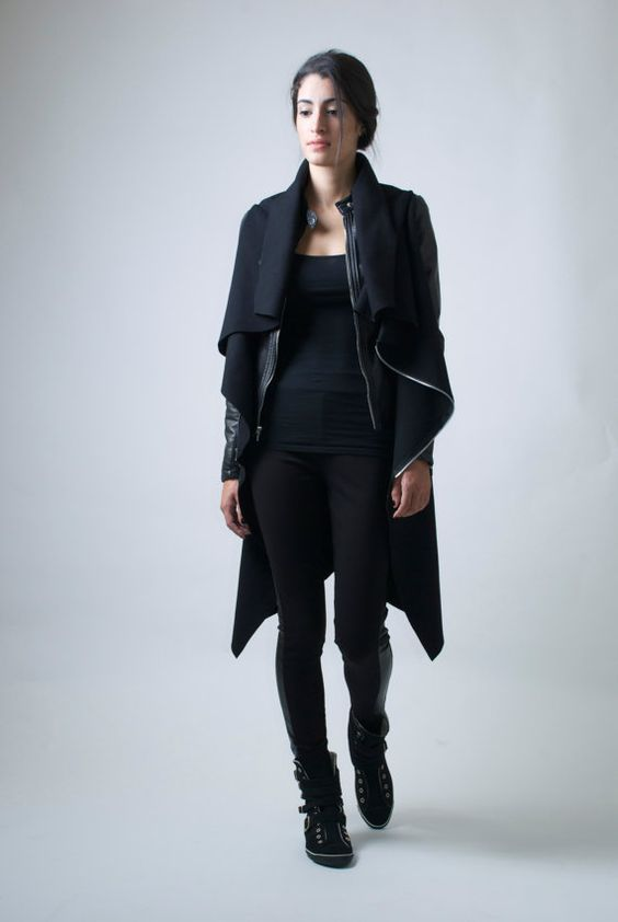 Black Jacket / High Collar Coat Asymmetrical Vest with Zipper